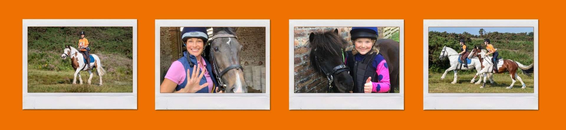 collage with three photos of horse riders